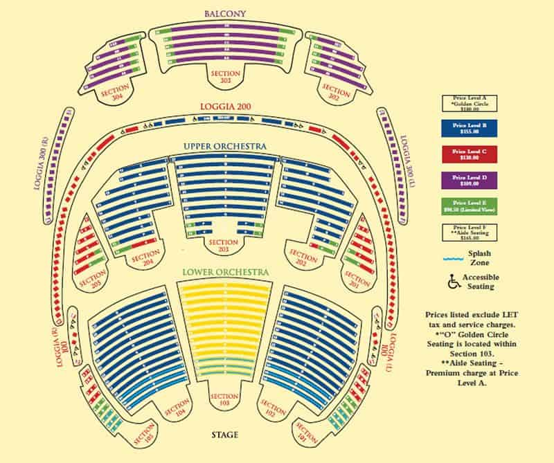 O Show Seating Map