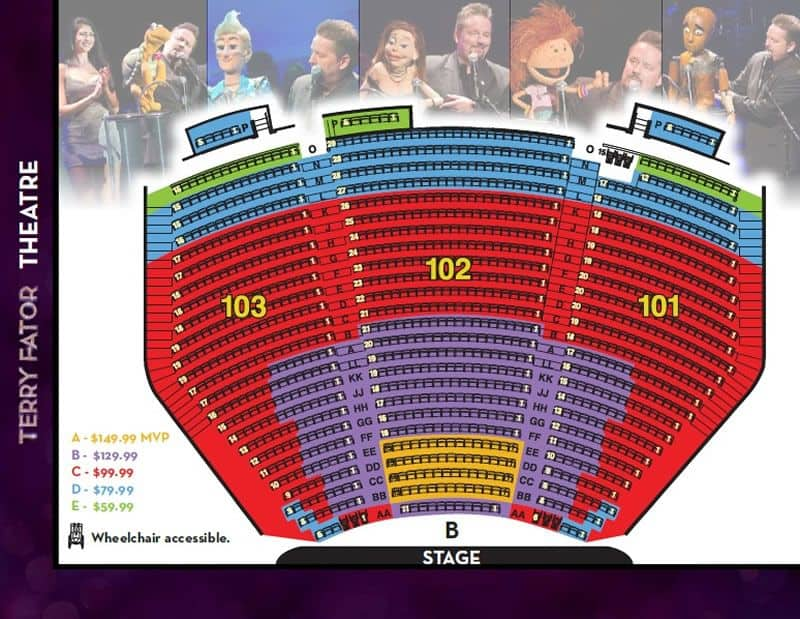 Terry Fator Seating Map